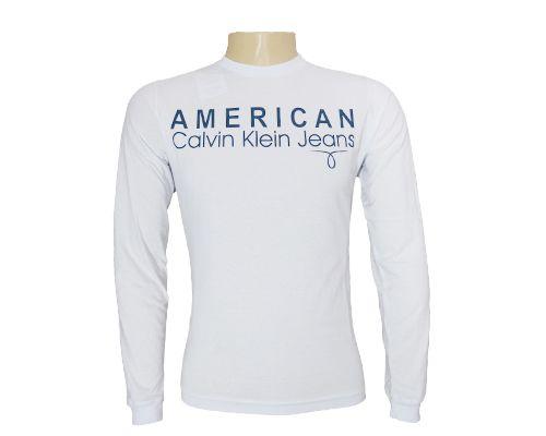 632226c7cb1 Camisa Masculina Calvin Klein Manga Longa Branca - O Mais Barato