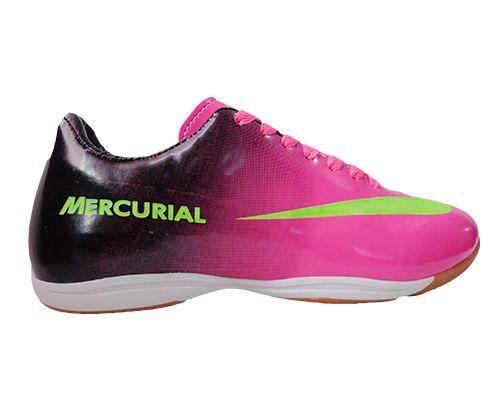 56b6b18405518 Tênis Futsal Nike Mercurial Vortex Rosa e Preto - O Mais Barato